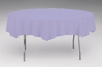 "Tablecover Plastic Round Lavender 82"" -0"