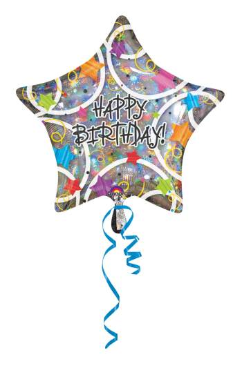 Foil Star Holographic Happy Birthday Balloon 19in S60-0