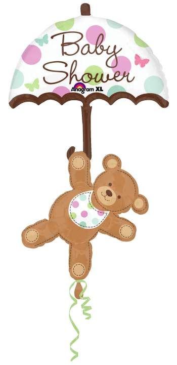 "Baby Shower Umbrella & Bear Balloon 49"" P75-0"