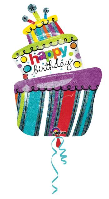 "Funky Birthday Cake Holographic Supershape 37"" P40-0"