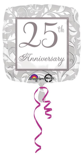 "18"" Square Elegant Scroll 25th Anniversary Balloons S40-0"