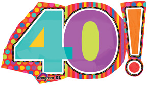 40th Birthday Dots & Stripes Birthday Balloon 29in P30-0