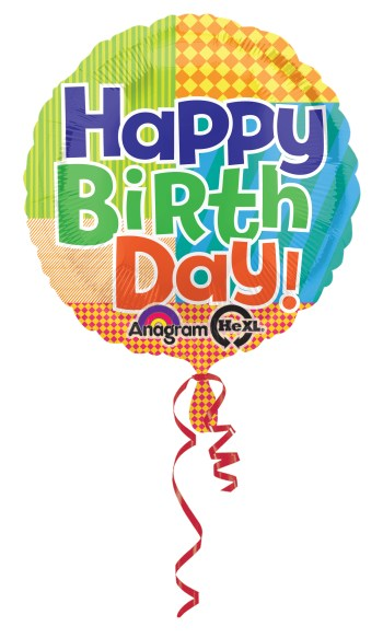 "Bold Pattern Birthday Balloon 18"" S40-0"