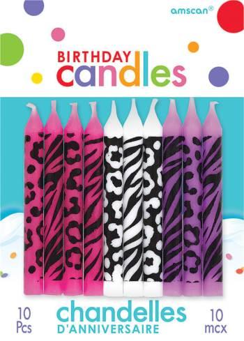 Zebra Print Birthday Candle - 10CT-0