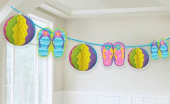 Honeycomb Beach Ball & Flip Flop Cutout Decoration-0