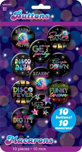 Disco Party Buttons - 10CT-0