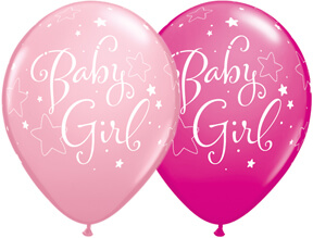 "Baby Girl Stars Pink & Berry Balloons 11"" 10CT-0"
