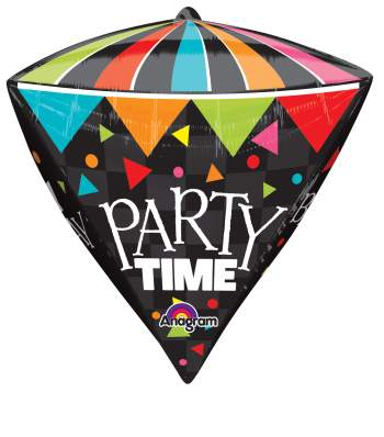 Cone HBD Party Time Diamond Super Shape Balloon P40-0
