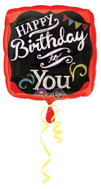"Chalkboard Happy Birthday Square Balloon 18"" S40-0"