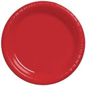 "10"" Premium Plastic Red Plates - 10CT-0"