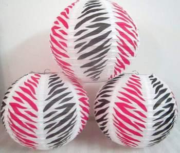 "Pink & Black Zebra Print Round Lantern 10"" - 3CT-0"