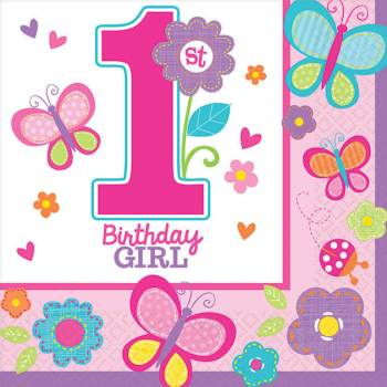 Sweet Birthday Girl Beverage Napkins - 16CT-0
