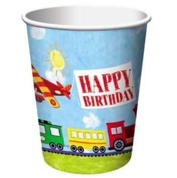 Transportation B'day 9oz Cups - 8CT-0