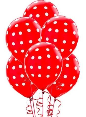 """Polka Dot Red Latex Balloons 12"""" - 100CT-0"""