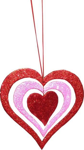 "Glitter 3D Heart Hanging Red/Neon Pink Decor 9""-0"