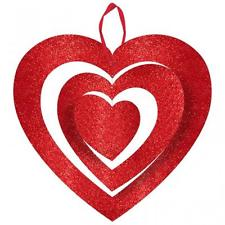 "Glitter 3D Heart Hanging Red Decor 9""-0"