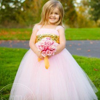 Sweet Pink Flower Girl Tutu Dress with Gold Sequin Sash-0