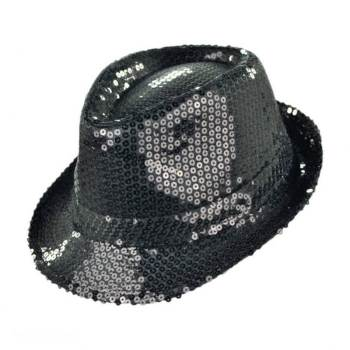 Sequin Fedora Hat Black-0