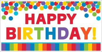 "Happy Birthday Plastic Rainbow Banner  65"" x 33.5""-0"