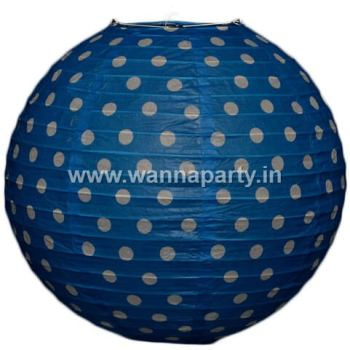 "Polka Dot Lanterns 14"" - Blue-0"