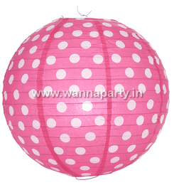 "Polka Dot Lanterns 14"" - Hot Pink-0"