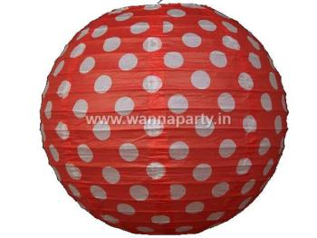 "Polka Dot Lanterns 14"" - Red-0"