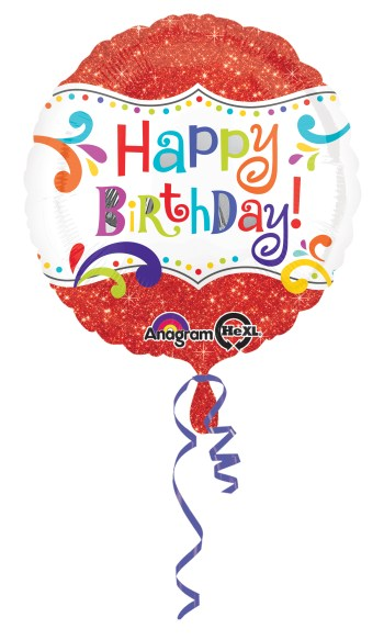 "Happy Birthday Sparkles Balloons 18"" S40-0"