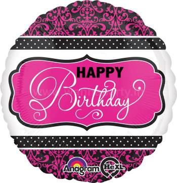 "Pink & White Happy Birthday Balloon 18"" S40-0"