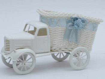 Boy Truck Basket w/ Blue Satin Ribbon-0