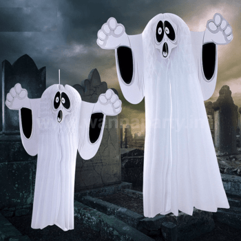 Halloween White Ghost Honeycomb Hanging - 1PC-0