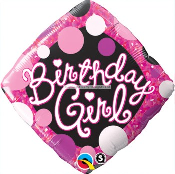 "Birthday Girl Pink & Black Balloon 18""-0"