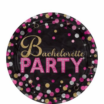 "Bachelorette Metallic Dessert Plates 7"" - 8PC-0"