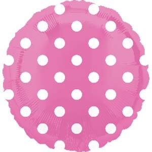 """Bright Pink Polka Dot Balloon 18"""" S40-0"""