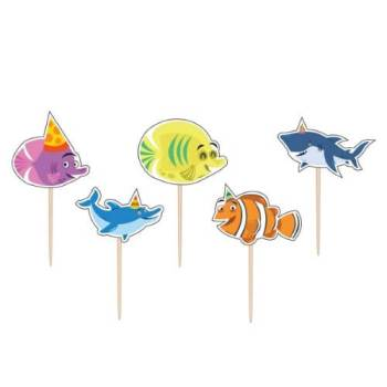 Ocean Buddies Cake Pick Candle - 5PC-0