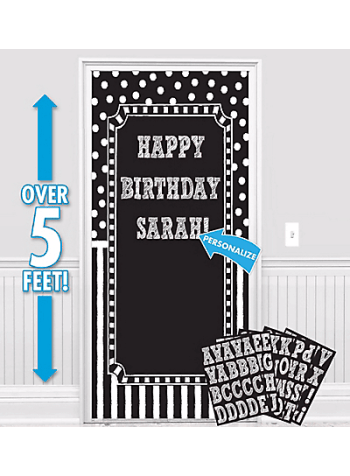 "Customizable Door Decoration Kit B&W - 65"" X 33.5""-0"