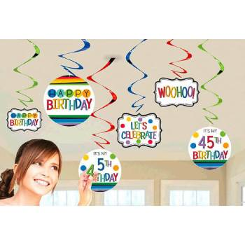 Add An Age Customized Swirl Decoration - 12PC-0
