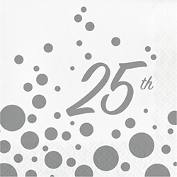 25th Anniversary Sparkle Shine Paper Napkins - 16PC-0
