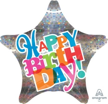 "Bright Type Sparkle Birthday Balloon 18"" S50-0"