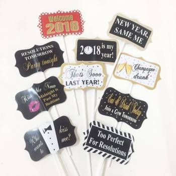 Happy New Year Photo Props - 10PC-0