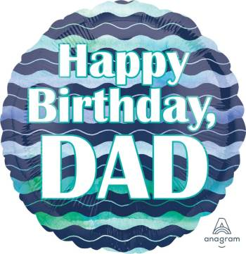 "Happy Birthday Dad Waves Balloon 18"" S40-1PC-0"