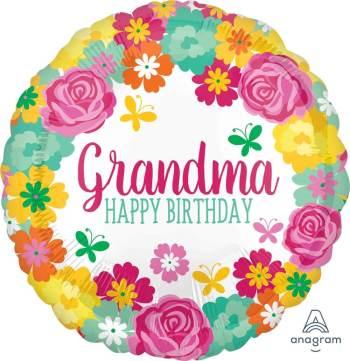 "Happy Birthday Grandma Floral Balloons 18"" S40-1PC-0"