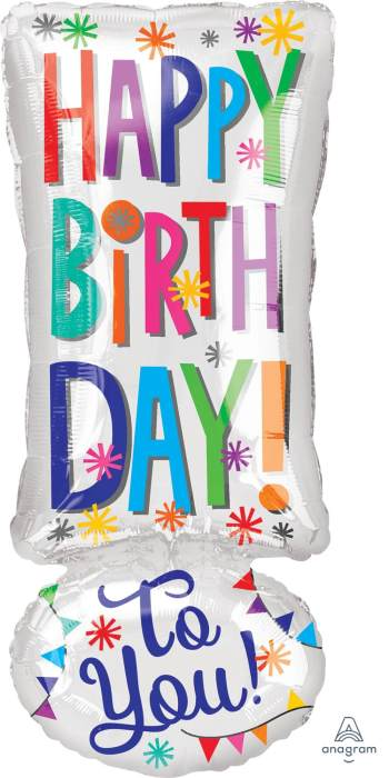 """HBD To You Exclamation Balloons 18"""" S55-1PC-0"""