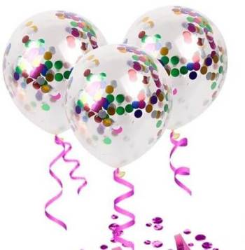 Transparent Confetti Decorative Balloon - 6PC-0