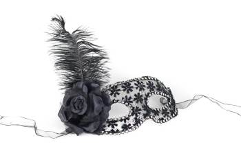 Black Mask w/Flower Feather-0