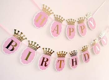 Happy Birthday Princess Crown Banner-0