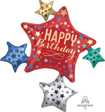"Birthday Satin Star Cluster Balloons 35"" P40-0"