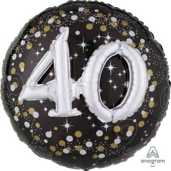 "Sparkling 40th Birthday Balloon 36"" P75-0"