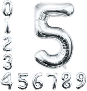 "No. 5 Silver 36"" Foil Balloon"