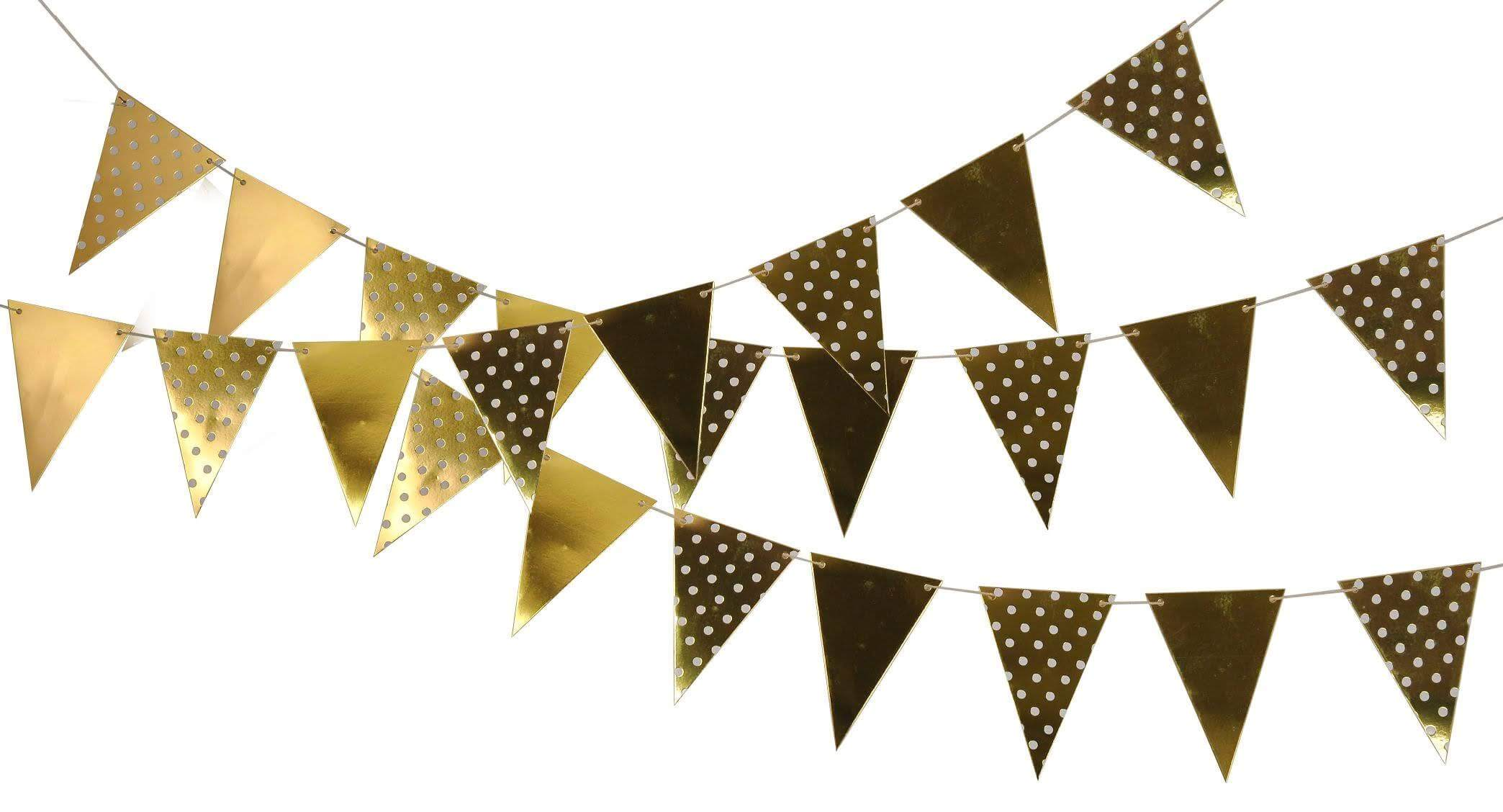 Happy 13th Birthday Polka Dot and Vintage Gold Pattern Bunting Banner 12 flags