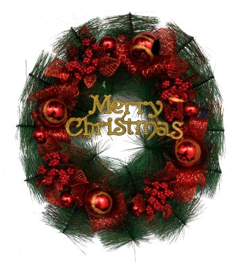 Merry Christmas Wreath Red & Golden